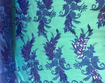 Royal Blue Angel Wings Floral Sequin Mesh Lace Gown Wedding Prom Dress Fabric - Sold By The Yard