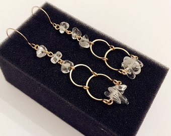 Handmade natural clear crystal quartz dangling earrings with gold wire