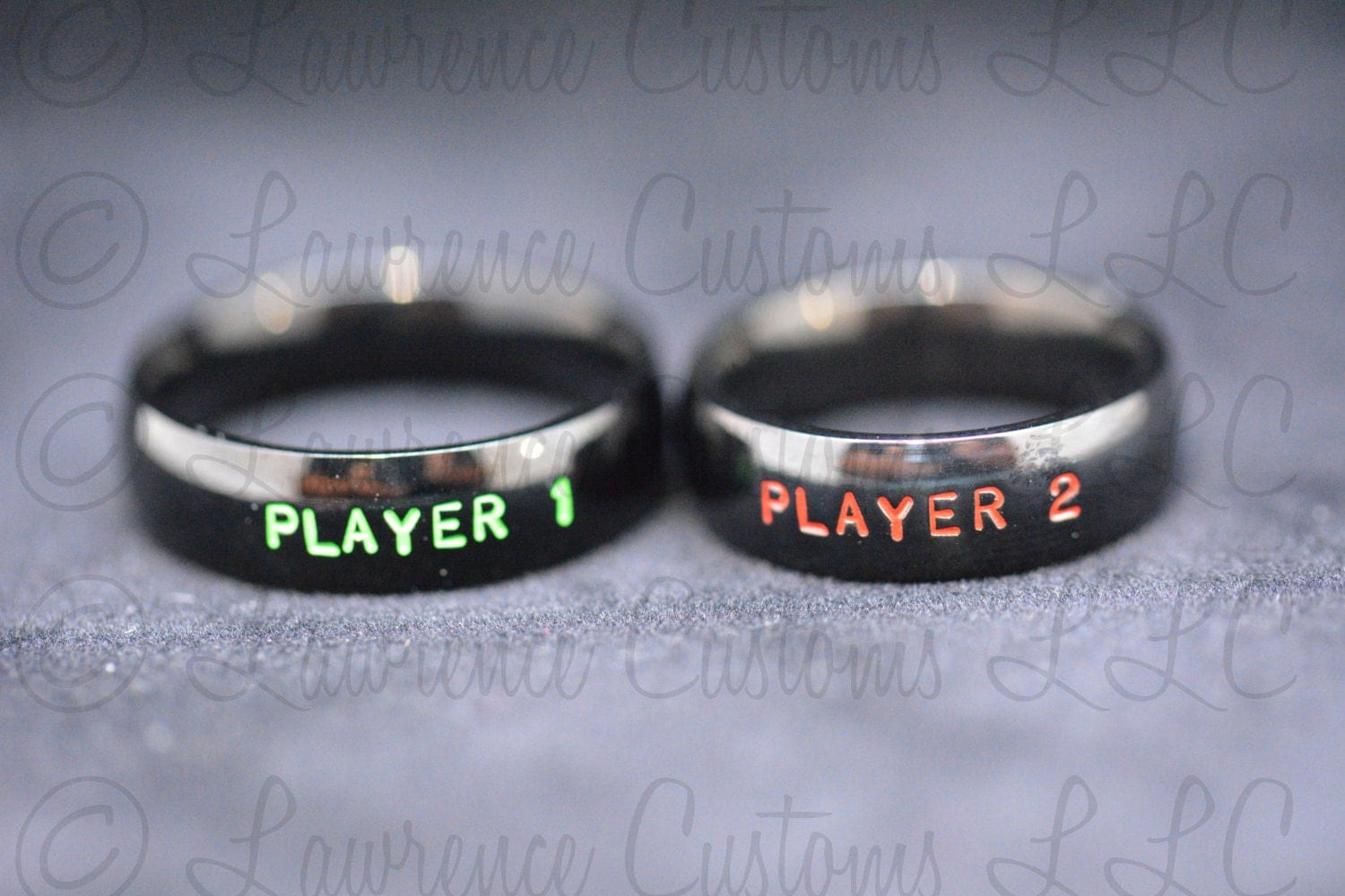 player gamer wedding rings Player 1 Player 2 Couples Ring set Black IP Plated Stainless Steel Ring set Friendship Rings Classic Gamer Rings Hand Stamped geekery