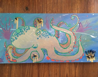 Abstract Octopus with real crystals 12x24""