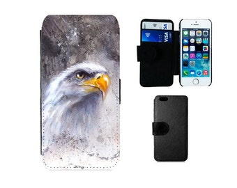 Wallet flip phone case iPhone 6, 6S, 7 Plus, 5C, SE 5S 5 4 4S, Samsung Galaxy S7, S6 Edge S5 S4 Mini Note 5, Eagle phone cover gift. F283