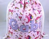 Pink Unicorn Personalised Drawstring Bag PE Bag Named Bag School Bag Swim Bag Dancing Bag Sleepover Bag Nursery bag Backpack Bag