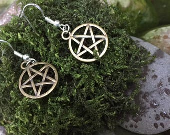 Pentagram bronze earrings