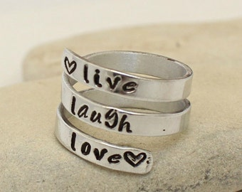 Personalized Sterling Silver Ring - Custom - Hand Stamped -Name Band - Adjustable Wrap Ring - Inspirational Ring