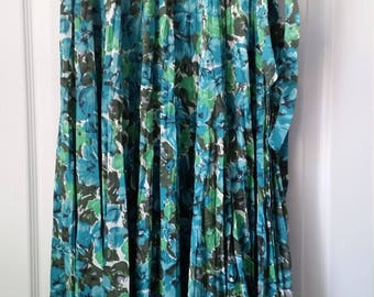 Vintage Swimwear Rose Marie Reid Wrap Skirt 1950s Turquoise Floral Print Swimwear Wrap Skirt Vintage California Style Rose Marie Reid Skirt