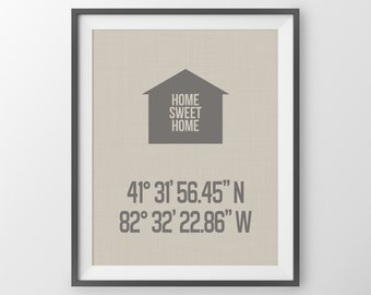 Custom Latitude Longitude Print, Home Sweet Home, Personalized Housewarming Gift, Wedding Gift, Gift For Couple, New Home Print, Entryway