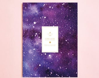 GALAXY ILLUSTRATION Lined NOTEBOOK | Writing Journal-Notebook for Writers Gift-Daily Planner-Large Notebook-The Notebook-Back To School-Boho
