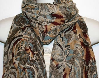 Womens Scarf, Wool scarf, Floral scarf,  Womans Scarf