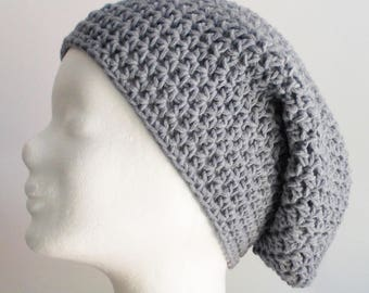 crochet hat, wooly hat, beanie, gray, cotton mix