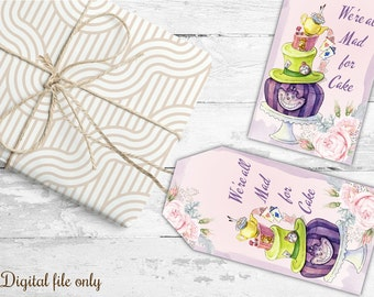 10 Digital Vintage Alice in Wonderland Eat Me Drink Me- Tags,Toppers,Cards,Gifts,Party Favors,Wedding,Birthday,Cake