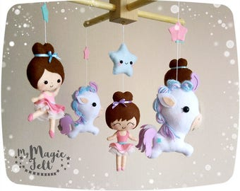Baby mobile Ballerina and Horses crib mobile Ballet nursery Ballerina and Stars baby mobile Circus Crib mobile Baby girl crib mobile