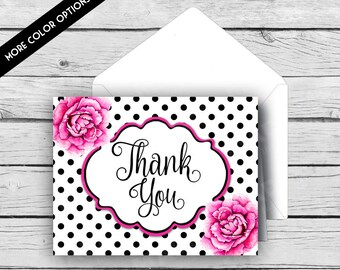 THANK YOU Note Card Set - Black & White Dot Pink Peonies, Stationery, Printed Stationery, Thank You Cards, Polka Dots