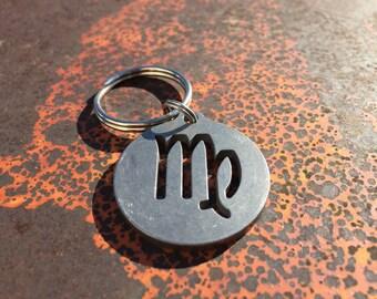 Stainless Steel Virgo Keychain, Zodiac Keychain, Astrology Keychain, Horoscope Keychain