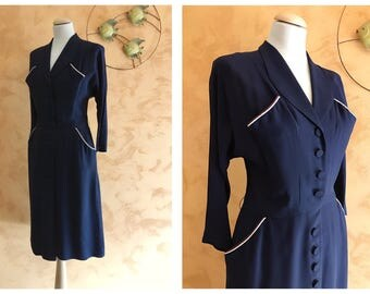 Vintage 1940s 1950s Blue Crepe Long Sleeve Dress - Size S/M