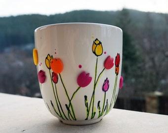 Tulips Mug, Hand Painted Porcelain Mug, Floral Coffee Mug, Tulips Coffee Mug, Flower Mug, Tulip Tea Cup, 3D Flower Mug, Mug with Tulips,