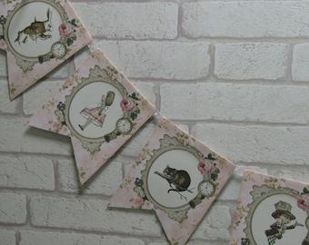 Tea Party Alice in Wonderland Bunting Garland Flag Banner - Wedding,Decoration,
