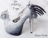 The Misty Dragon Heels Custom Hand Sculpt Paint Shoe Size 3 4 5 6 7 8  High Wedge Fantasy Mythical Bridal Wedding Alternative White Scales