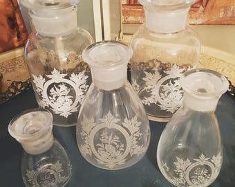 Beautiful Set Of 5 Victorian Etched Bottles With Ground Lids