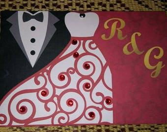Red wedding dress and tuxedo invitations for wedding with rhinestones.