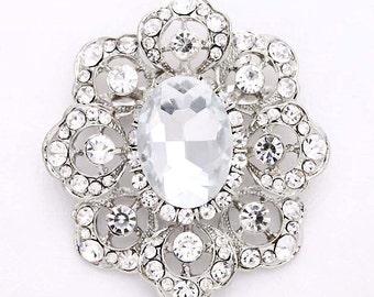 Rhinestone Wedding Brooch, Crystal Silver Brooches, Bridal Brooch, Dress Sash Brooch, Diamante Brooch, Rhinestone Brooches