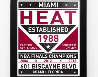 Miami Heat Dual Tone Modern Team Print Framed