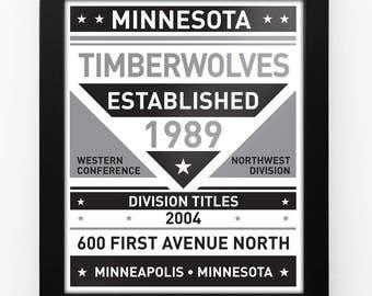 Minnesota Timberwolves Black & White Modern Team Print Framed