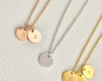 Initial coin necklace, gold silver rose gold initial,disc initial necklace, circle initial necklace, 3 initial necklace,bridesmaid gift,