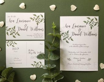 Minimal Leaf Wedding Invitations - Save the date - Details - RSVP Package