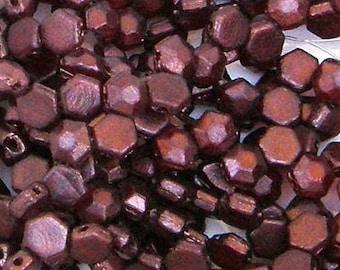 Honeycomb Jewel Bead, Ruby Wine, 2-Hole Beads, (HCJ-90080-15726), 6mm, 30 count