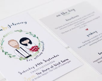 """Once upon a time"""" Illustrated wreath cute couple wedding invite sample"""