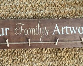 Artwork Display, Children's art display, Masterpieces,Child Artwork Hanger,Playroom Decor,Family Artwork