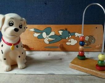 Baby room decor, retro children's room, wooden toys, 101 Dalmatians, toy, Walt Disney piggy bank