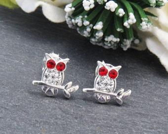 Sterling Silver Owl Stud Earrings, Little Girl Earrings, 925 Sterling Silver Owl Earrings, Girls Jewelry, Silver Bird Earrings, Bird jewelry