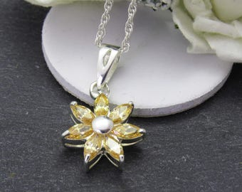 Yellow Topaz Star Pendant, Star Necklace, Sterling Silver Topaz Necklace, Gift For Wife, Anniversary Gift