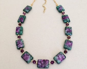 Purple Green Necklace Amethyst Purple Bead Necklace Flat Bead Jasper Necklace Green Purple Necklace Swarovski Necklace Womens Jewelry Gift