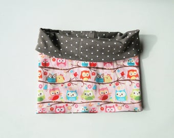 """Snood summer """"owls"""" in stretchy jersey for girl. Unique size"""