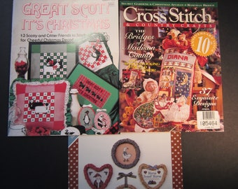 3 cross stitch pattern booklets, Great Scot! It's Christmas, 13 Scottish designs,BH&G 1995 Magazine 37 designs, free gift