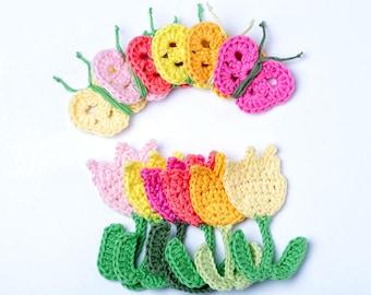 Crochet Pattern Tulips and Butterflies  - Digital file PDF