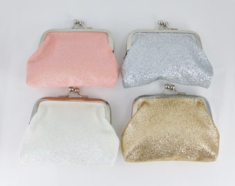 "Sparkly glitter coin purse kiss lock snap top coin wallet pouch change purse Pink White Silver Gold 3.5"" wide"
