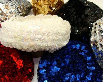 "Large lot of sequin rolls-elasticized sequin rolls-1 1/2"" -sequin trim lot-red sequin-blue sequin-black sequin-white sequin-silver sequin"
