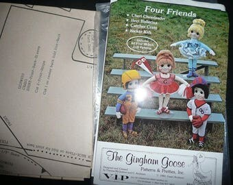 Vintage The Gingham Goose Four Friends 22 Inch Dolls Sewing Pattern Uncut
