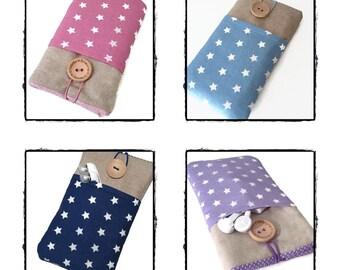 Fabric case Galaxy S7 Edge / Samsung Galaxy S6 Edge Sleeve/ Galaxy S7 S6 S5 S4 phone pouch / Galaxy Alpha case Linen stars pockets