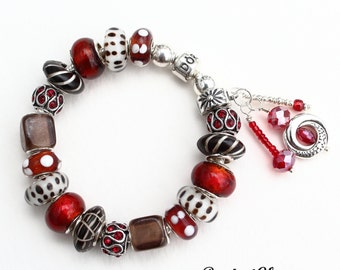 CHOCOLATE AND STRAWBERRIES~Genuine Pandora Bracelet Option~with European Style Beads and Charms