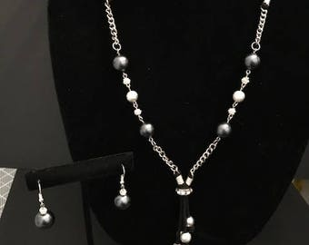 Silver and Gray Pearl Bead Necklace and Earring Set