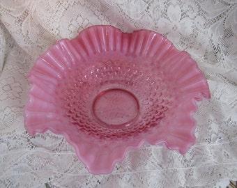Fenton Cranberry Opalescent Hobnail Glass Centerpiece Bowl