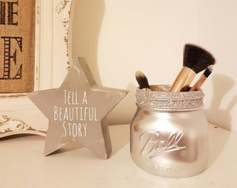 Painted Silver Mason jar - Perfect for Weddings & Home Decor