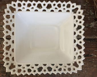 Milk Glass Footed Square Dish Ornate Details