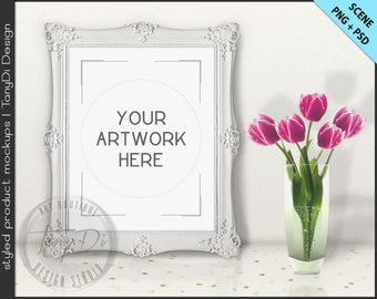 Ornate Frame on White Table with Tulips Styling | 8 PNG scene | Empty 8x10 Frame Styled Mockup T3 | Portrait Landscape White Black Frame