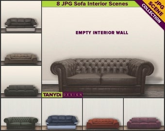 Living Room Leather Sofa Interior Scene | 8 Blank Light Wall Styled Stock | JPG Styled Scene SC5 | Wall decor mockup | Scene Creator
