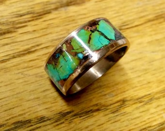 Marbled Turquoise Ring Band.  10mm Wide.